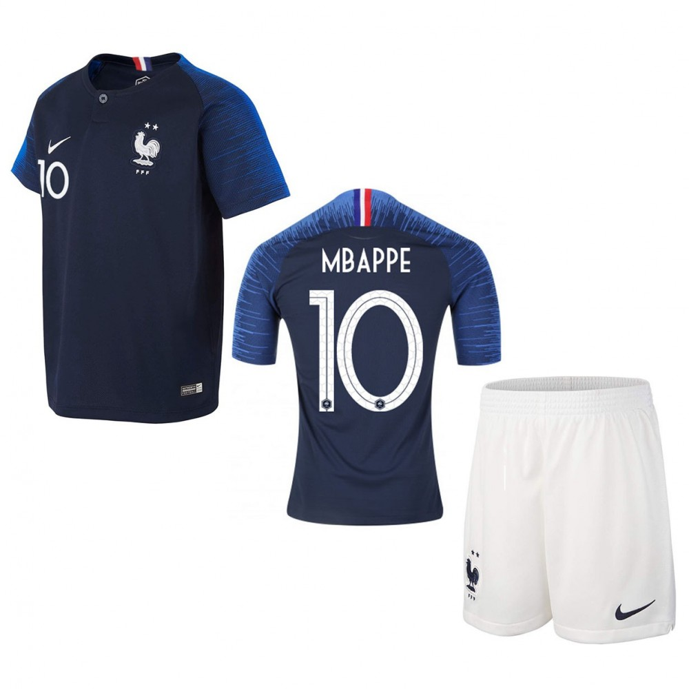 PACK JUNIOR FRANCE MABPPE DOMICILE 2 ETOILES. ENSEMBLE MAILLOT ET SHORT 2018-2019