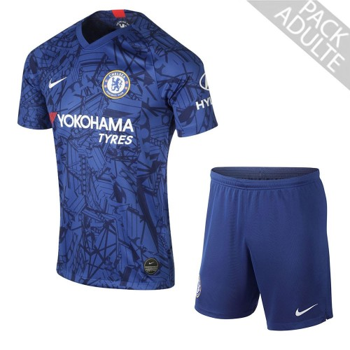 PACK CHELSEA DOMICILE. ENSEMBLE ADULTE MAILLOT ET SHORT 2019-2020