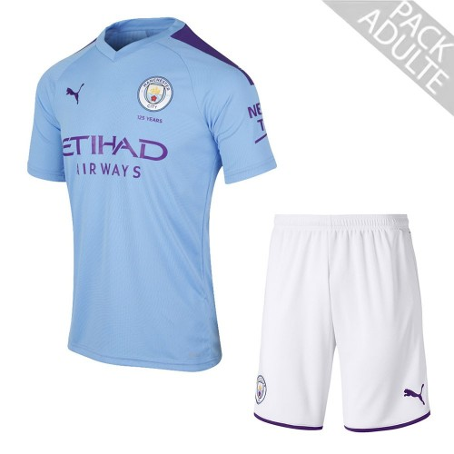 PACK MANCHESTER CITY DOMICILE. ENSEMBLE ADULTE MAILLOT ET SHORT 2019-2020