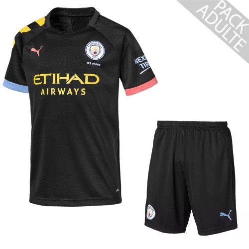 PACK MANCHESTER CITY EXTERIEUR. ENSEMBLE ADULTE MAILLOT ET SHORT 2019-2020