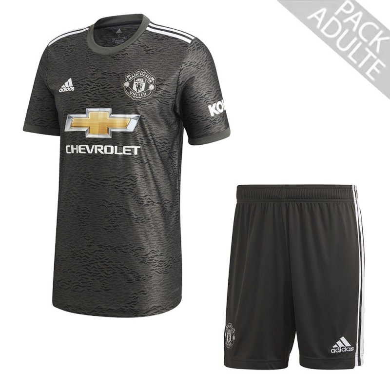PACK MANCHESTER UNITED EXTERIEUR. ENSEMBLE ADULTE MAILLOT ET SHORT 2020-2021
