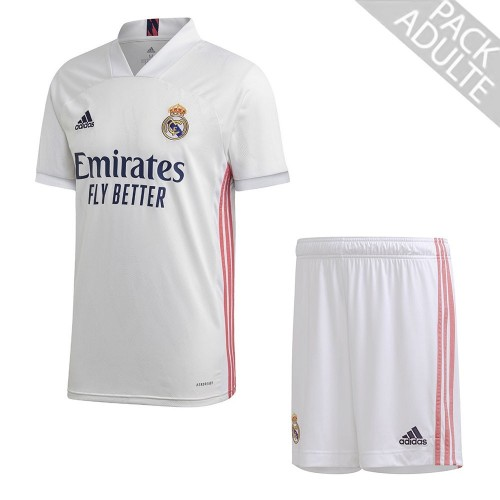 PACK REAL MADRID DOMICILE. ENSEMBLE ADULTE MAILLOT ET SHORT 2020-2021