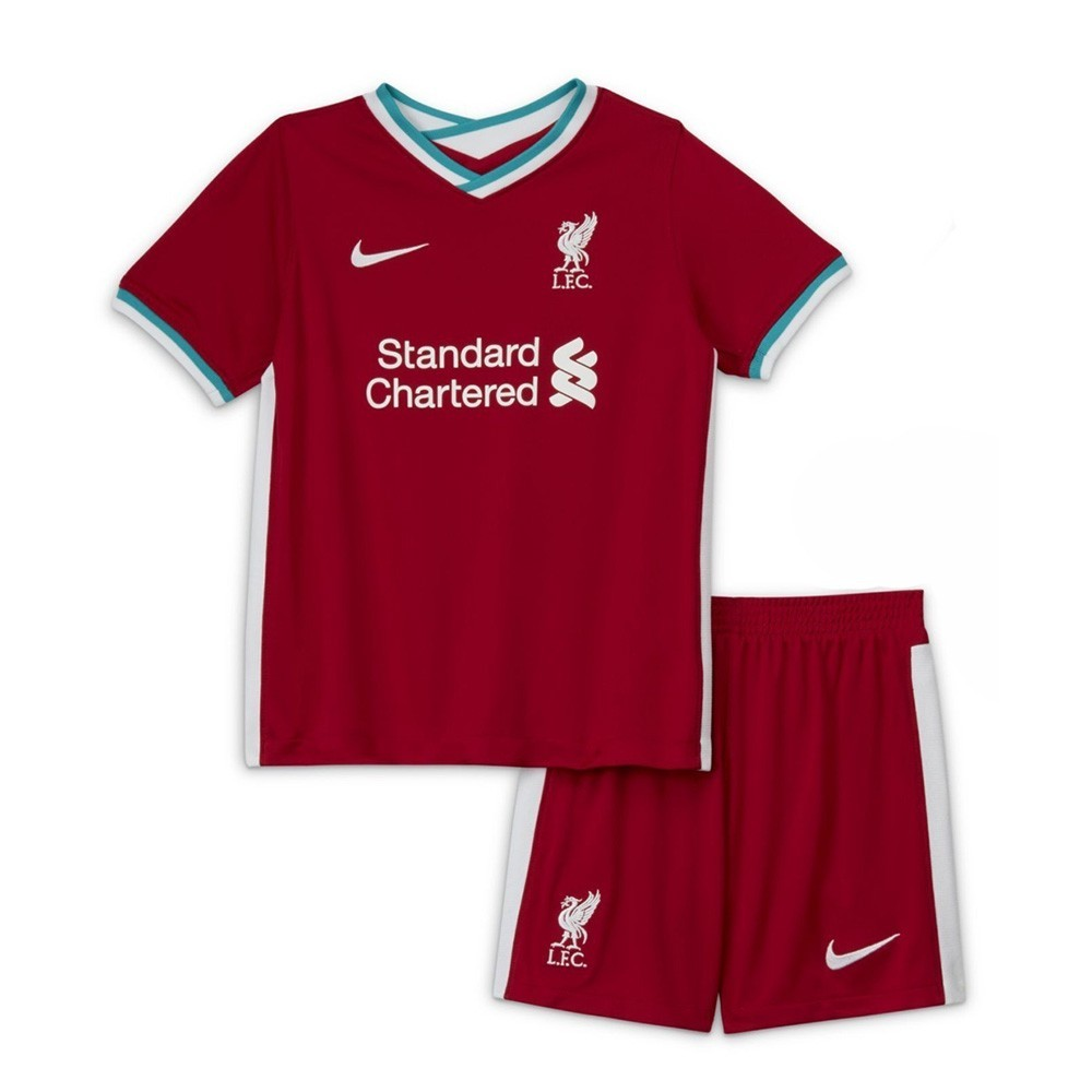 PACK JUNIOR LIVERPOOL DOMICILE. ENSEMBLE MAILLOT ET SHORT 2020-2021