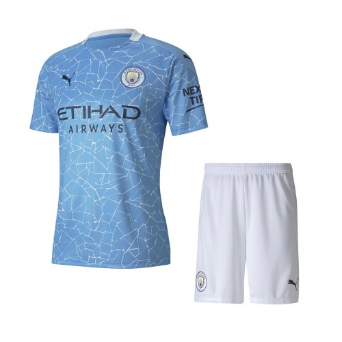PACK JUNIOR MANCHESTER CITY DOMICILE. ENSEMBLE MAILLOT ET SHORT 2020-2021