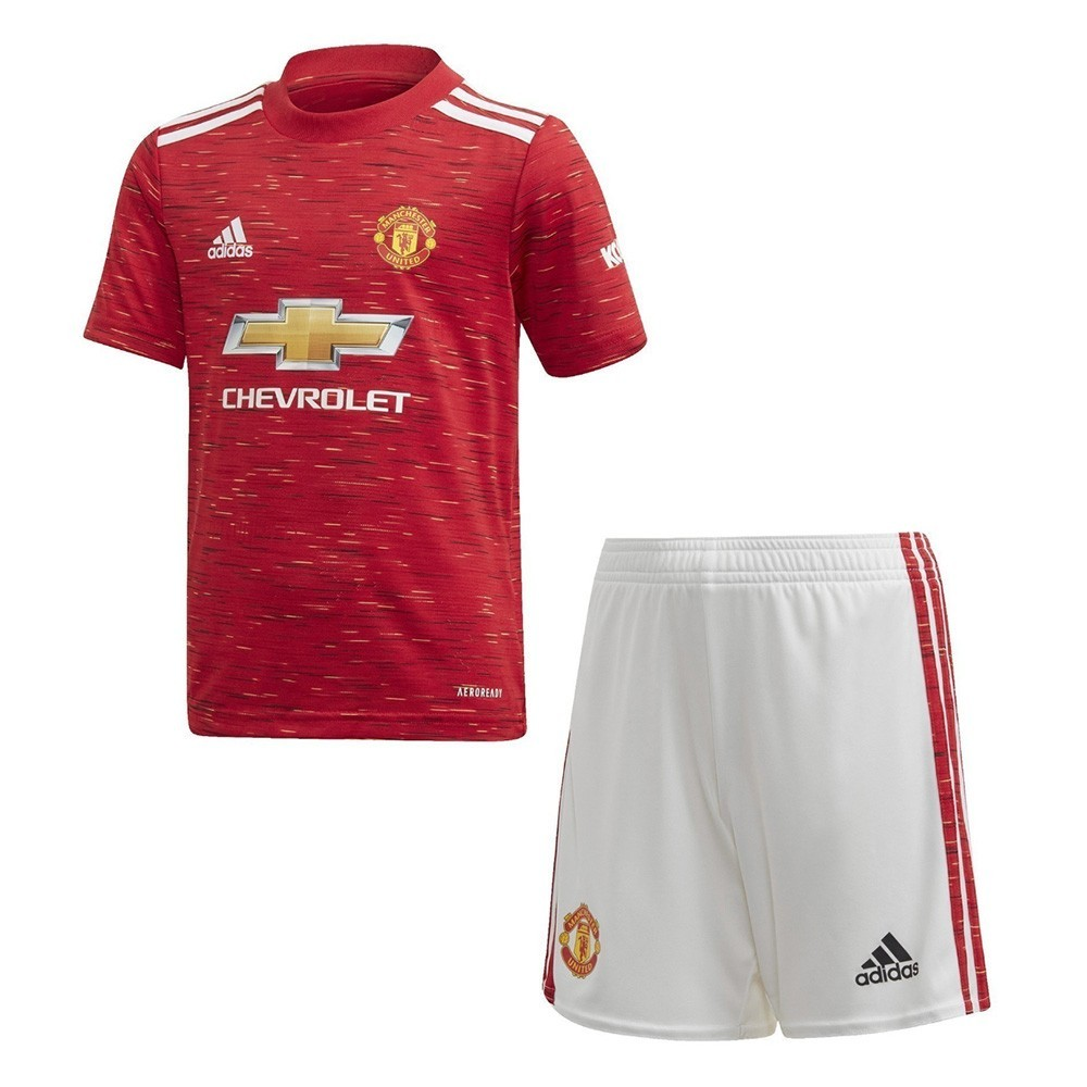PACK JUNIOR MANCHESTER UNITED DOMICILE. ENSEMBLE MAILLOT ET SHORT 2020-2021