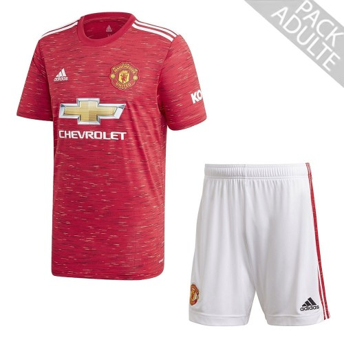 PACK MANCHESTER UNITED DOMICILE. ENSEMBLE ADULTE MAILLOT ET SHORT 2020-2021