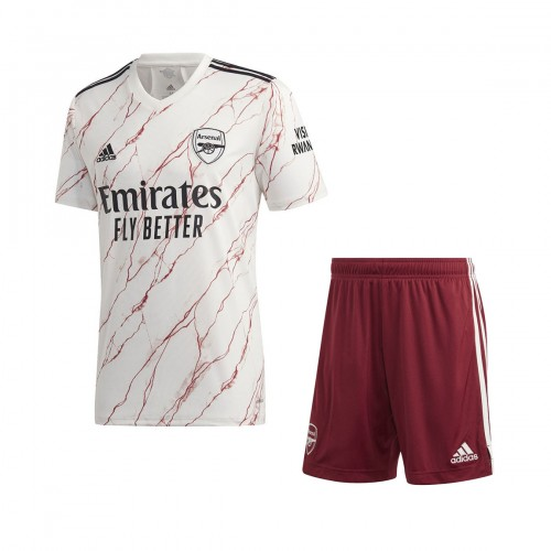 PACK JUNIOR ARSENAL EXTERIEUR. ENSEMBLE MAILLOT ET SHORT 2020-2021