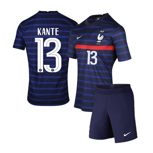 PACK JUNIOR FRANCE DOMICILE KANTE. ENSEMBLE MAILLOT ET SHORT 2020-2021